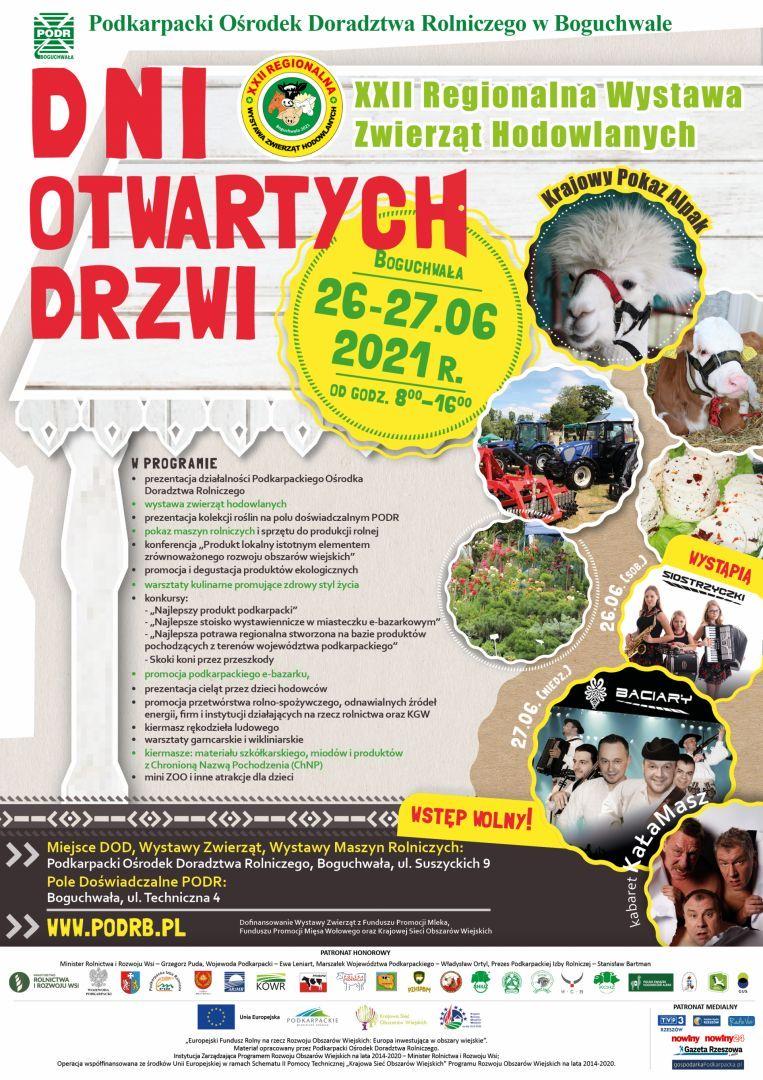 Dni Otwartych Drzwi połączone z XXII Regionalną Wystawą Zwierząt Hodowlanych - Boguchwała, 26 i 27 czerwca 2021 r.