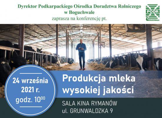 Produkcja mleka wysokiej jakości- zaproszenie na konferencję
